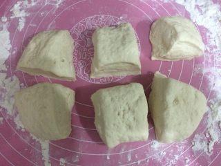班尼迪克蛋 英式马芬 水波蛋 荷兰酱做法,将发酵好的面团移到撒了面粉的案板上,排气,均匀分成6份。