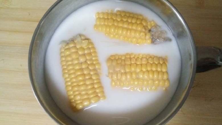 甜玉米(肯德基版),将<a style='color:red;display:inline-block;' href='/shicai/ 219'>牛奶</a>、糖、水倒入器皿中搅拌均匀。 然后倒入,液面要使玉米多浮起来一些。 用老百姓的话讲就是水量要充足。  注:这一步最关键,我在注意事项里会详细介绍。