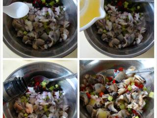 意式海螺沙拉,蔬菜里放入海螺片中,加盐、黑橄榄、柠檬汁、红酒醋拌匀即可