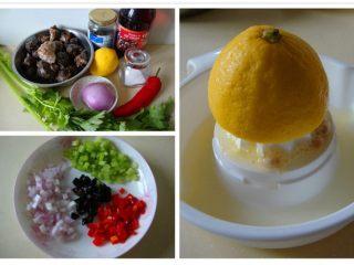 意式海螺沙拉,蔬菜改刀切成小粒,柠檬切开挤汁