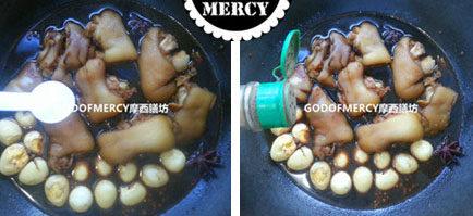 不用一滴油做出健康護膚抗衰老的豬蹄燉鵪鶉蛋 ,起鍋后加入適量的胡椒粉提味。