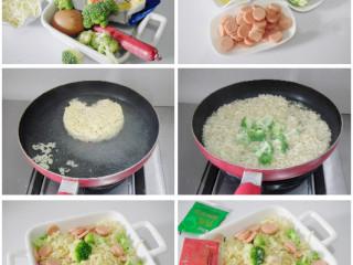 奶酪鸡蛋焗方便面,西兰花掰成小朵洗净,火腿肠切成片,鸡蛋打在碗中。