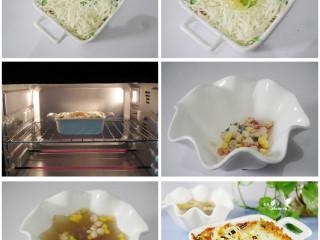 奶酪鸡蛋焗方便面,将芝士丝均匀的撒在面上,在焗碗的中间倒入蛋液,撒上适量的香草。