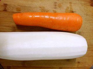 开胃糖醋萝卜#夏天的味道#,准备食材,白萝卜,胡萝卜各一个,洗净,白萝卜去皮备用。