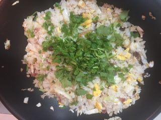 腊味蛋炒饭(约二人份),加入葱花和芫茜碎翻炒片刻即可