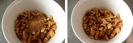 记忆中的最爱~~~~摩卡咖啡面包,松弛面团时准备馅料,材料C的核桃需要事先烤熟放凉并掰成小块,与适量红糖拌匀备用。