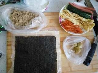 简单寿司,东西准备好拉