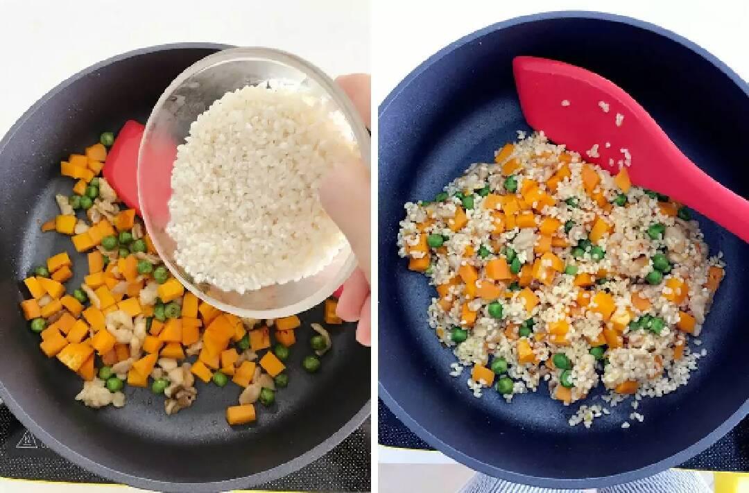 宝宝辅食:南瓜苹果炊饭,倒入控干的大米,和南瓜甜豌豆翻炒均匀,中火大概翻炒2-3分钟。</p> <p>》要更加好吃,一定要把米也炒下,可以增加香气,炒米时已香得令人发指,最后做好肯定好吃,嘿嘿。
