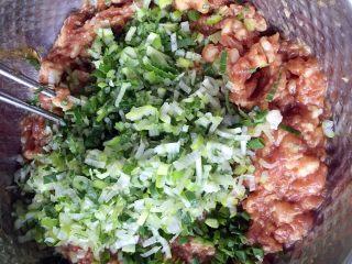 鲜肉大葱小笼包,加入切碎的洋葱碎和大葱,拌匀。然后边搅拌边加入适量的骨头汤,搅拌上浆有劲。