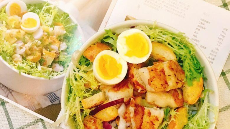 法风煎鱼排沙拉