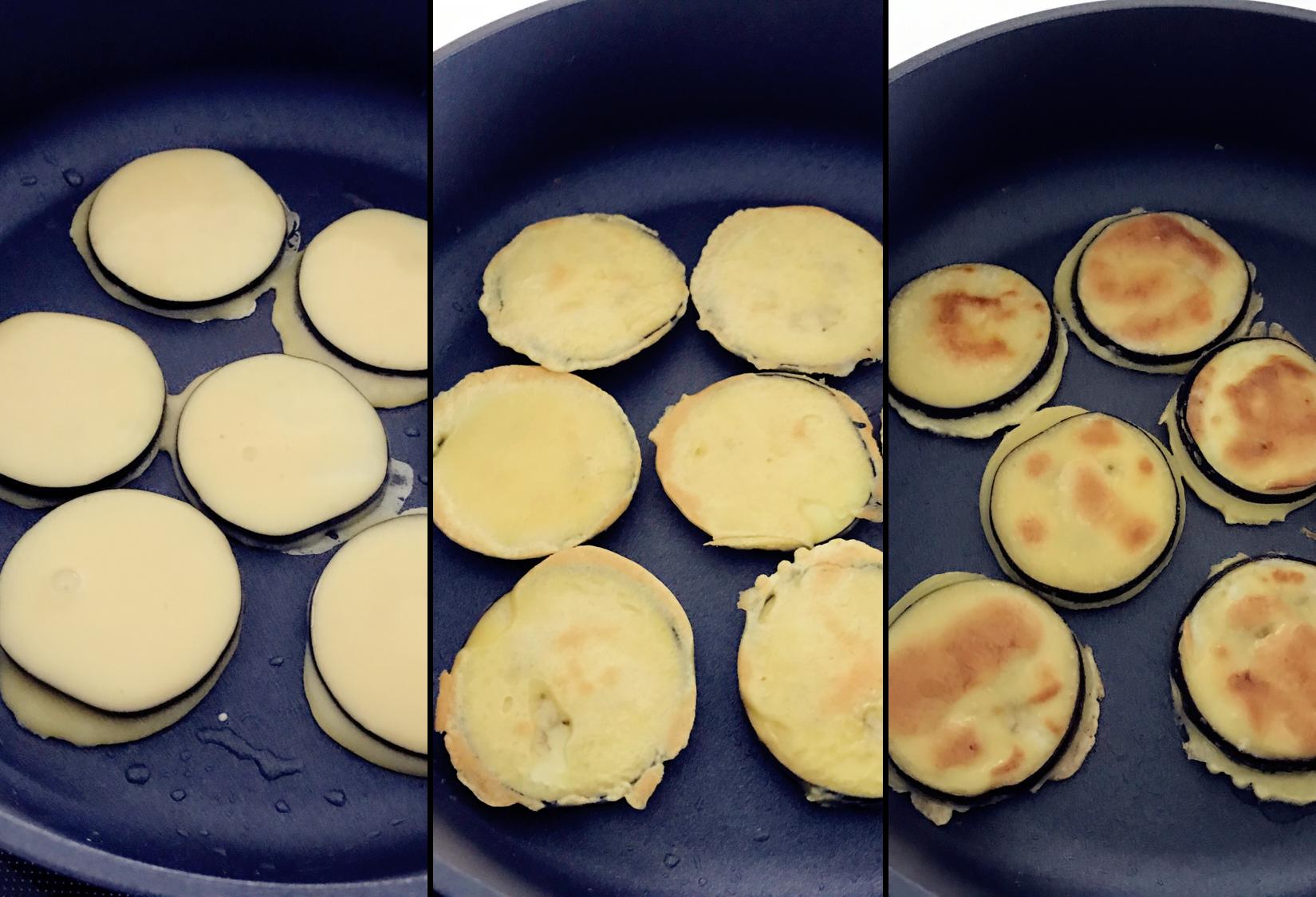 宝宝辅食:香香软嫩的茄子馍,快手美味,宝宝吃不够!12M+</p> <p>,热锅,倒入少许植物油,放入两边挂满鸡蛋面糊的茄子片,小火烘煎至两边都变成金黄色。</p> <p>》当晃动平底锅茄子饼可以跟着动时再翻面,然后不断翻面烘煎至变色即可。