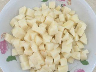 土豆排骨焖饭,土豆切小块泡水。