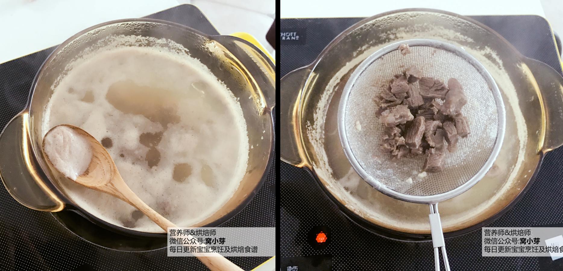宝宝辅食:有饭、有菜、有肉,啥都有的土豆牛肉焖饭!18M+,锅里放水,将牛肉焯水5分钟,撇去浮沫,捞出牛肉粒,反复清洗几遍备用。</p> <p>》如果是猪肉,也需要撇除泡沫,不然会比较腥。</p> <p>》彻底把血水浮沫清洗干净