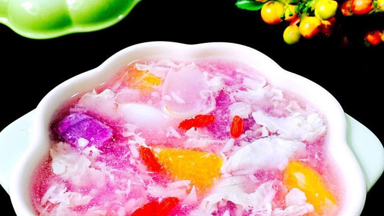 百合紫薯水果酒酿蛋花羹#王氏私房菜#