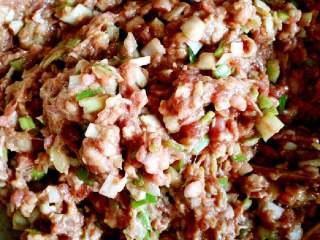 猪肉大葱多汁肉包,大葱剁碎放进去顺着一个方向打匀