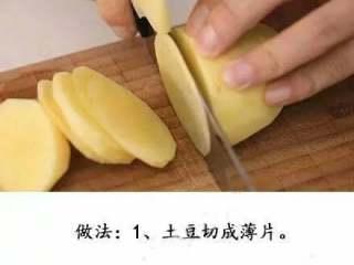 微波炉版薯片+#有个故事#,土豆切薄片。