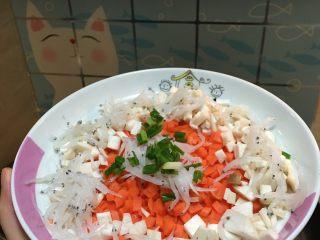 银鱼炖蛋,胡萝卜鸡腿菇切丁,葱花切末,均匀的铺在盘子上。