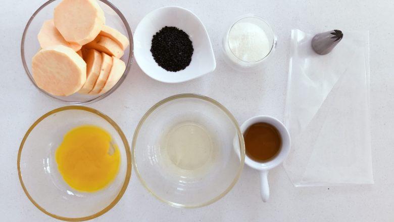 宝宝辅食:红薯芝麻曲奇,准备好所有食材。