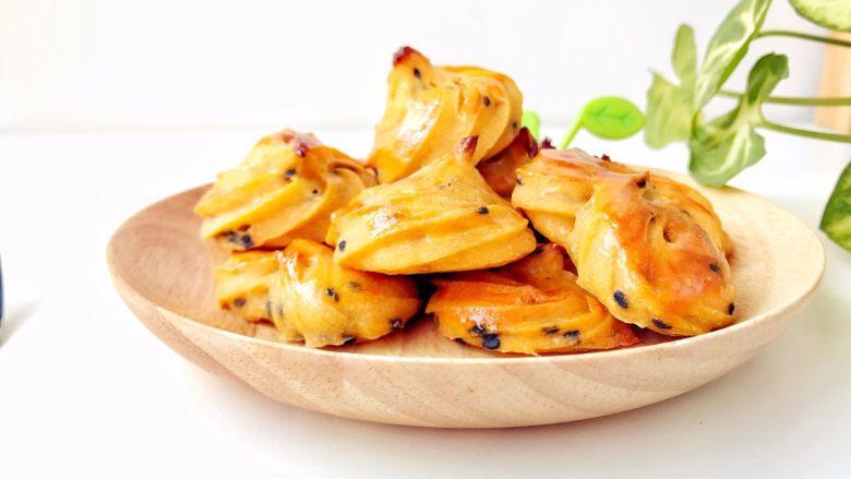 宝宝辅食:红薯芝麻曲奇,出炉冷却