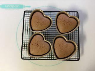 可可海绵蛋糕(4寸爱心),烤好的蛋糕取出,无需倒扣