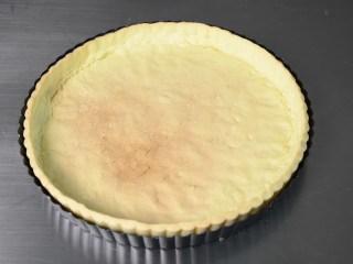布丁水果派,当派皮表面呈金黄色后,即可出炉,放至台面冷却待用;