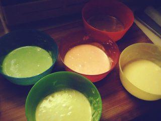 幸福彩虹卷,蛋糕糊和蛋白糊搅拌均匀,分到五个碗里,五种颜色分别加入每个碗里,再次搅拌均匀