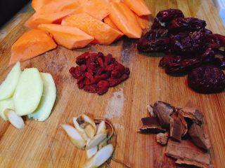 冬日滋补----榴莲炖鸡汤,红枣祛核,灵芝、生姜切片备用