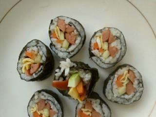 简单寿司,切成块状,装盘。OK