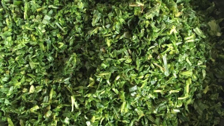 野菜疙瘩,切碎如图。为了野菜出水分,撒点盐,如果野菜控水不太干的话也可以不撒盐。为了野菜蒸出的颜色绿油油的话,撒少许食用碱,当然也可以不用撒
