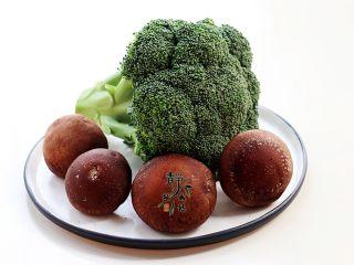 素炒香菇西兰花,主要食材合影。