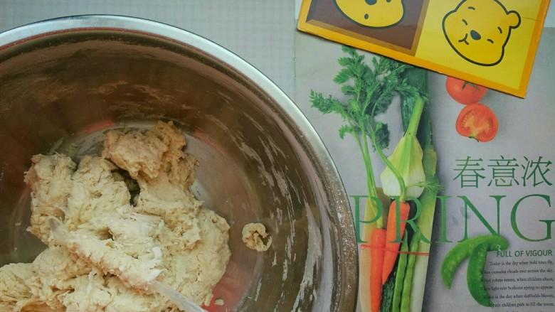 鸡仔包,下面就开始和面啦,在盆中倒入半斤面粉,把酵母水分次均匀的加入,边加水边搅拌,搅拌到面粉基本能够成团,就开始用手和面了