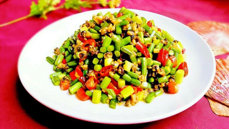 蒜苔炒螺丝肉(香辣版)