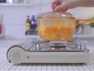 梨漫香汁&橙香满园&苹果乐园,往锅里倒入500ml水,加入橙子加热