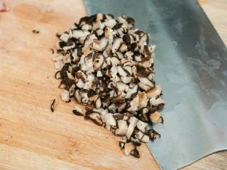糯米烧卖,干香菇提前2小时泡发,切碎。