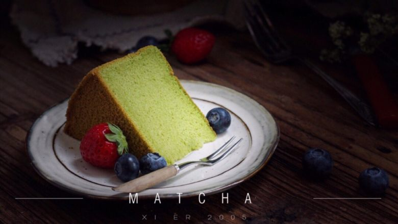 抺茶戚风蛋糕,浅浅的绿色,春天的颜色!