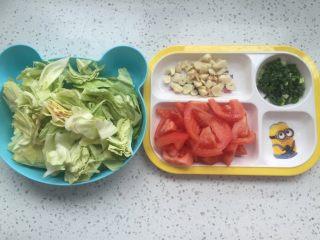 西红柿卷心菜,将备料切好备用