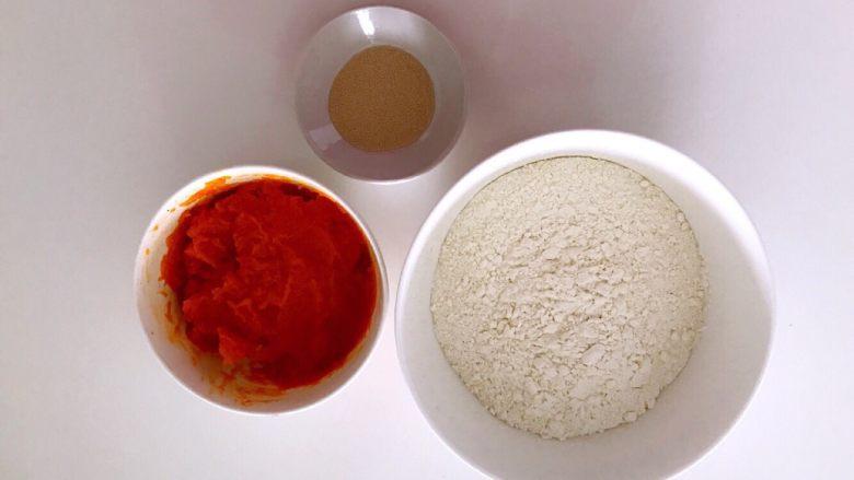 无水向日葵馒头,吃一口记一辈子,<a style='color:red;display:inline-block;' href='/shicai/ 53'>南瓜</a>去皮蒸熟压成泥,准备好食材。