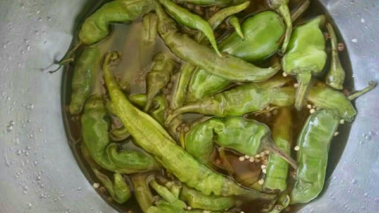 青绿啦,青辣椒    数量 首先用盐   盐一下 锅里烧一锅糖醋水(放花椒) 烧好之后   浇到辣椒上边   放冰箱12小时