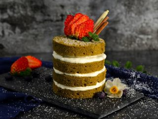 抹茶奶油蛋糕,成品图