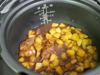 排骨土豆焖饭,将土豆和排骨倒入锅内,然后将排骨土豆的汤汁也一并倒入锅内,汤汁不要全部倒入,加到水位线3的位置即可。