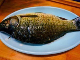 家常烧鲫鱼,准备鲫鱼一条,不能太大,会比较难入味儿一点儿,不大不小的刚刚好,杀得时候破开肚子的时候一定要从中间破开,为了等下形状好看,洗干净血水
