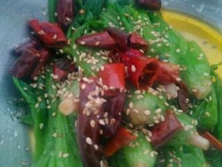 炝拌菠菜,添加盐.  味素   糖   香油    芝麻……