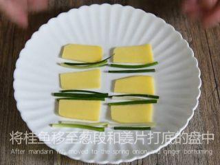 鲜上加鲜的做法——清蒸桂鱼,将桂鱼移至葱段和姜片打底的盘中