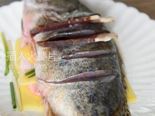 鲜上加鲜的做法——清蒸桂鱼,切口处插入火腿片