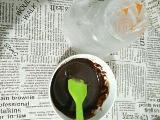 抹茶戚风蛋糕卷,融化成巧克力酱装入裱花袋