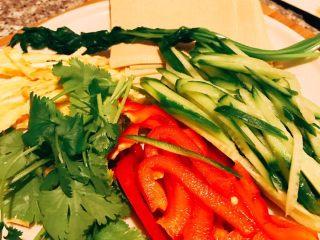 蔬菜豆皮卷,准备卷入的青菜 : 随自己喜好 选择自己喜欢吃的青菜 有些青菜需要焯水断生即可 我用了红椒 黄瓜 鸡蛋摊皮切成丝 豆芽 香菜随自己喜欢。