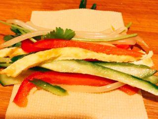 蔬菜豆皮卷,把所有的菜放在豆皮上卷起来即可。 取一根香菜焯水后在卷起来的豆皮中间打个结起到固定左作用。 依次做好所有的豆皮摆入盘中。