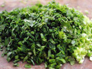 翡翠鲅鱼酸汤馄饨,把韭菜和香菜切成碎末备用、如图