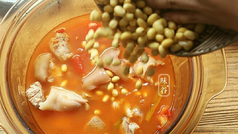 番茄黄豆猪蹄汤,倒入泡好的黄豆