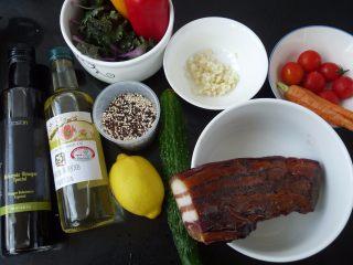 腊肉藜麦沙拉, 烟熏腊肉与其他材料
